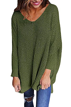 Mafulus Womens Oversized Sweaters Casual V Neck Long Sleeve Loose Knit  Pullover Tops Army Green f0a9a871b5e
