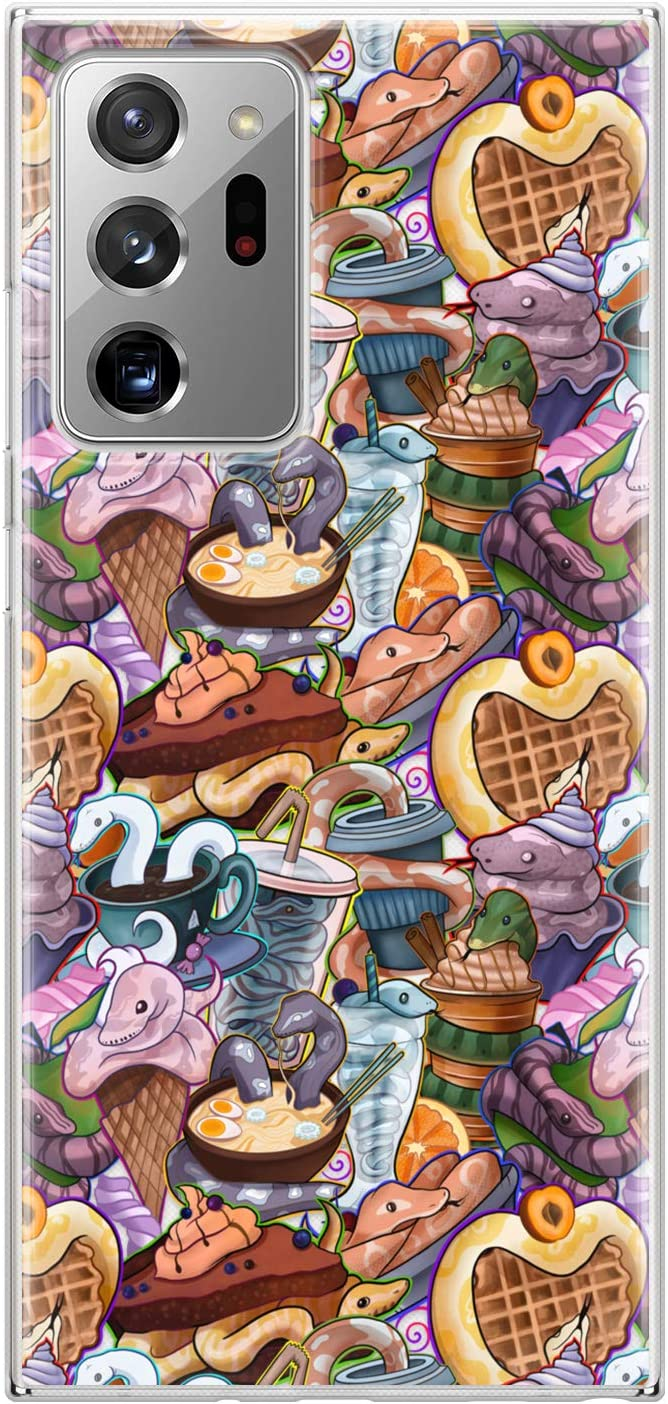 Lex Altern TPU Case Compatible with Samsung Galaxy S21 Note 20 Plus S20 Ultra S10 5G 9 Print Ball Python Waffles Clear Cute Protective Food Lightweight Snakes Flexible Kawaii Silicone Cover phh112