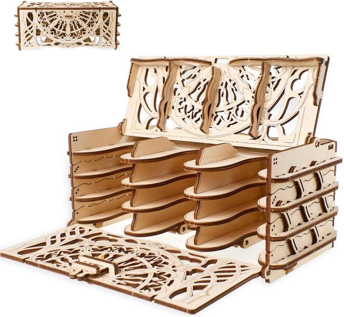 UGEARS Modelo Mecánico Puzzle 3D - Soportes de Juego de Cartas - Card Holder - Caja de Madera Tarjeta de Juego Estuche Funda para 12 Mazo de Naipes Maquetas para Construir Adultos