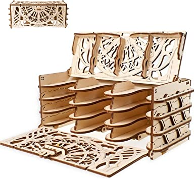 UGEARS Modelo Mecánico Puzzle 3D - Soportes de Juego de Cartas - Card Holder - Caja de Madera Tarjeta