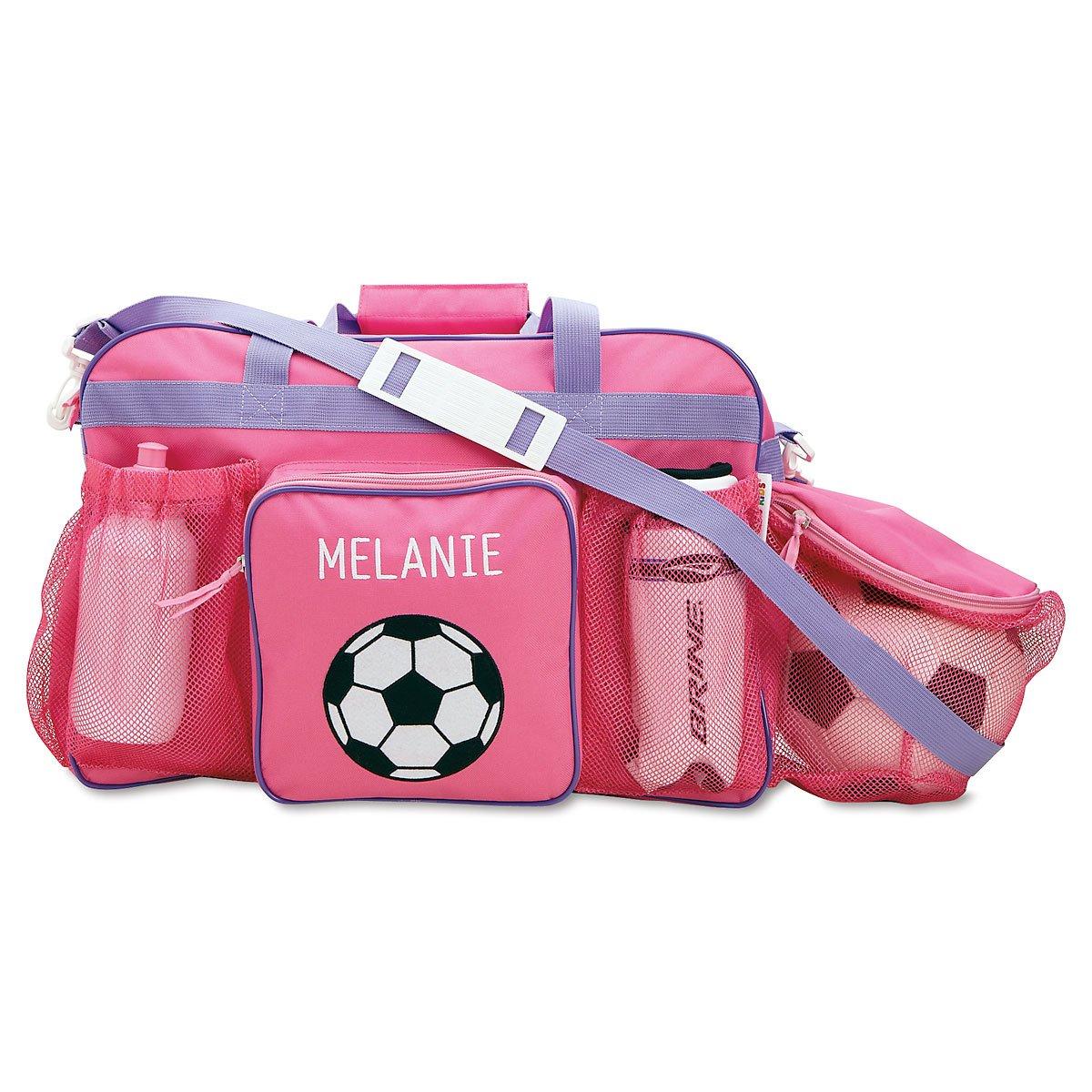 Personalized Kids Pink Soccer Sport Bag, 19'' Long, Girls Soccer Bag by Lillian Vernon