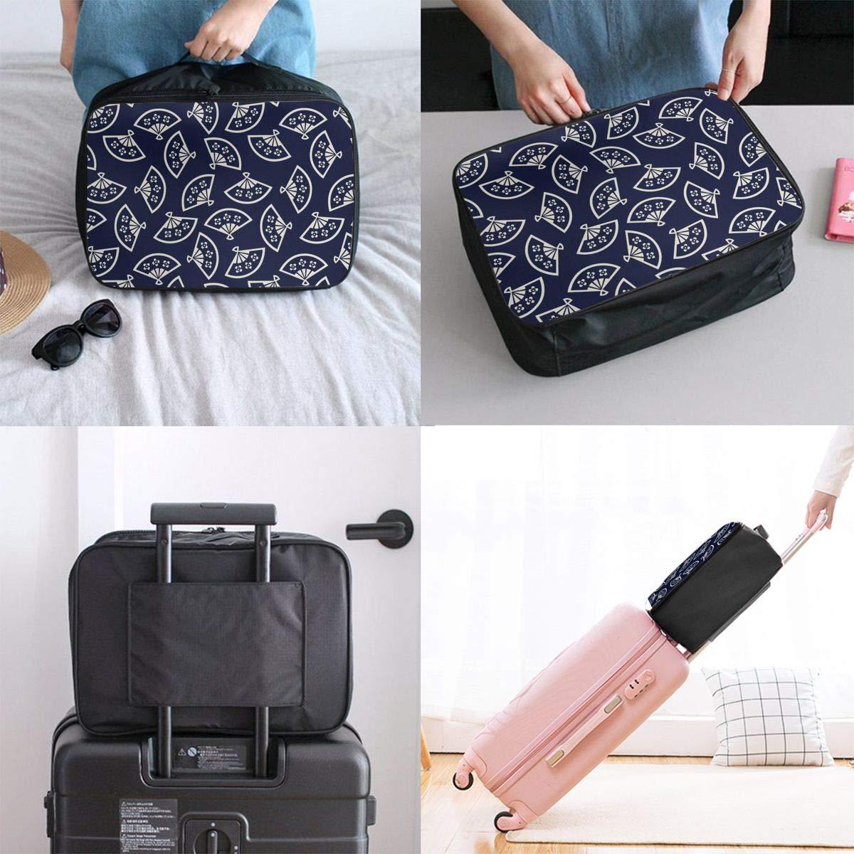 ADGAI Hand Fan Pattern East Asia Canvas Travel Weekender Bag,Fashion Custom Lightweight Large Capacity Portable Luggage Bag,Suitcase Trolley Bag