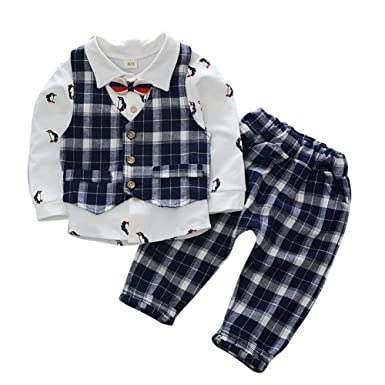 Bébé garçon Costume Gentleman Party Tenue de Mariage T-Shirt à Manches  Longues avec Noeud b6d90a9a3f2
