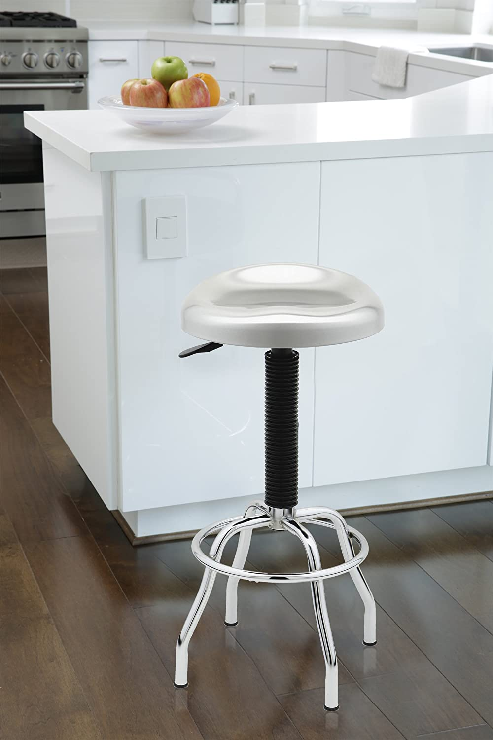 Seville Classics Contoured Pneumatic Stainless-Steel Work Stool