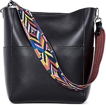 BROMEN Women Handbag Designer Vegan Leather Hobo Handbags Shoulder Bucket Cross-body Purse