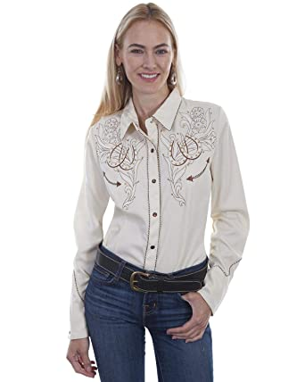 42ac5185 Scully Women's Western Cream Horseshoe Long Sleeve Shirt Cream Small at  Amazon Women's Clothing store: