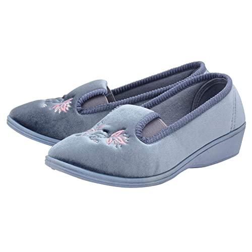 30f738d73762 Womens Dunlop New Low Wedge Heel Velour Slipper Shoes  Amazon.co.uk ...
