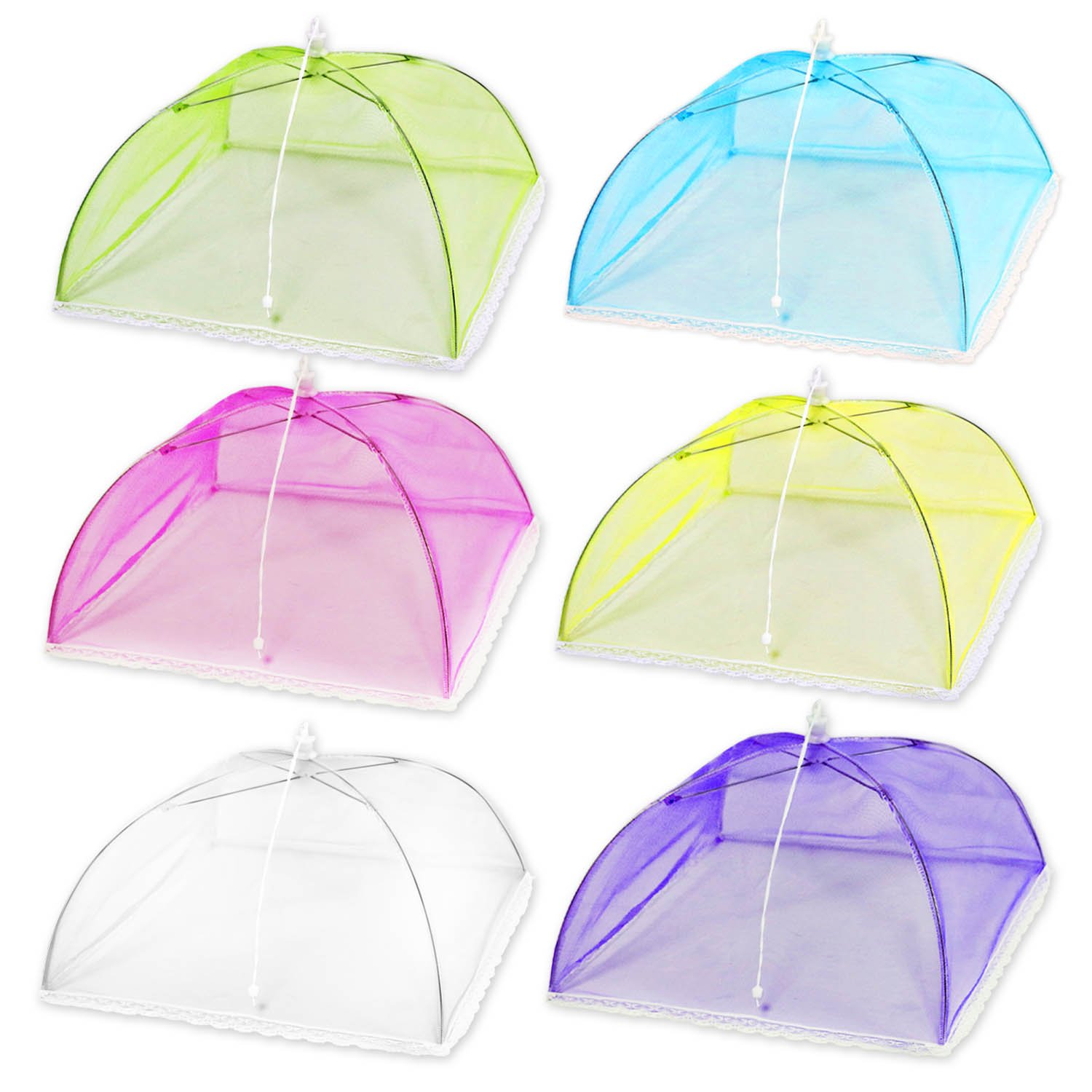 (6 Pack) Esfun 17'' Colored Mesh Screen Food Cover Tents for Outdoors, Reusable and Collapsible Picnic Food Net Cover Umbrella Protect Your Food and Fruit From Flies,Mosquitoes and Bugs