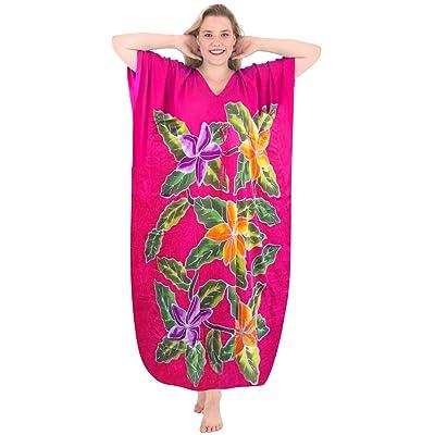 La Leela Women's Beachwear Rayon Evening Aloha Nightwear Long Caftan Loose Dress Sleepwear Lounge Wear