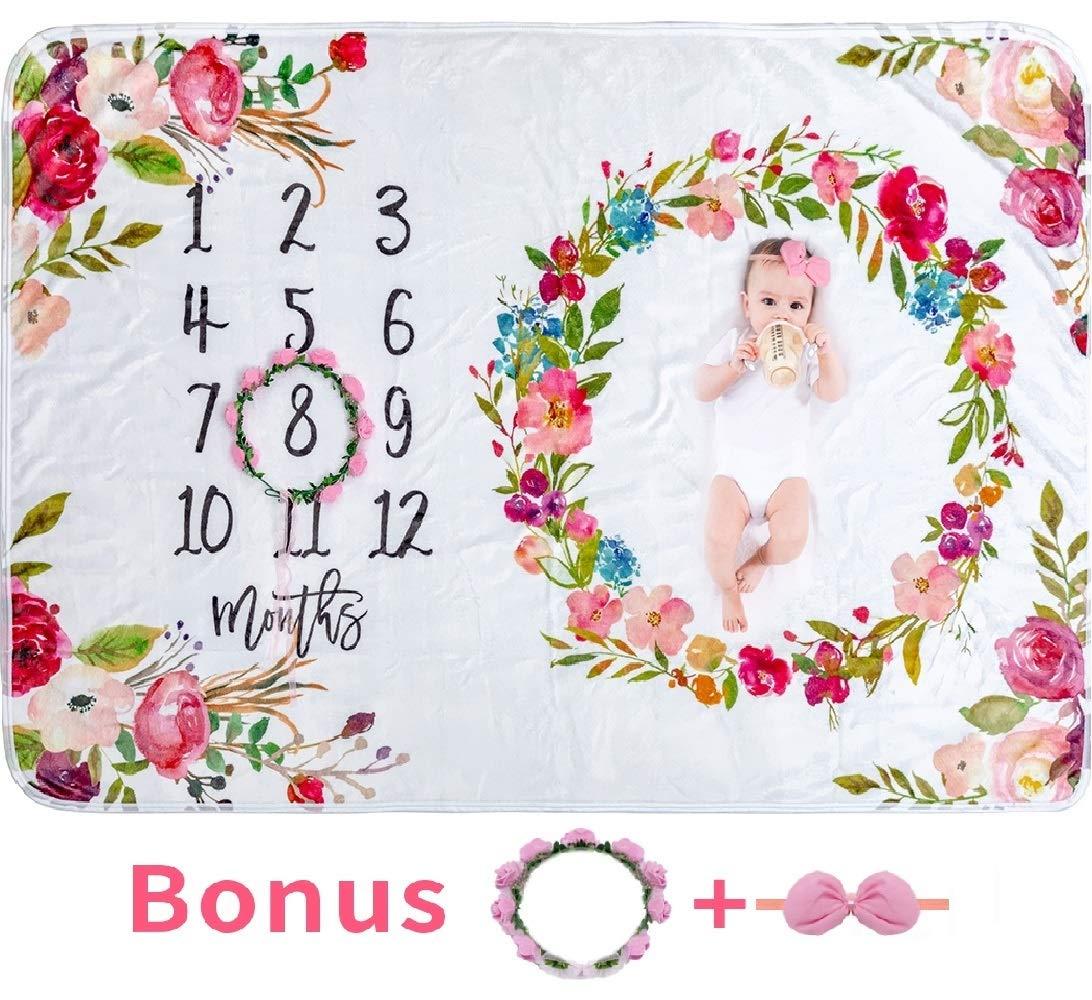 Baby Monthly Milestone Blanket Girl - Large 60''x40'' Floral Plush Fleece Photography Background Prop Newborn Soft Wrinkle-Free Flower Blanket Bonus Wreath Headband by Tebaby