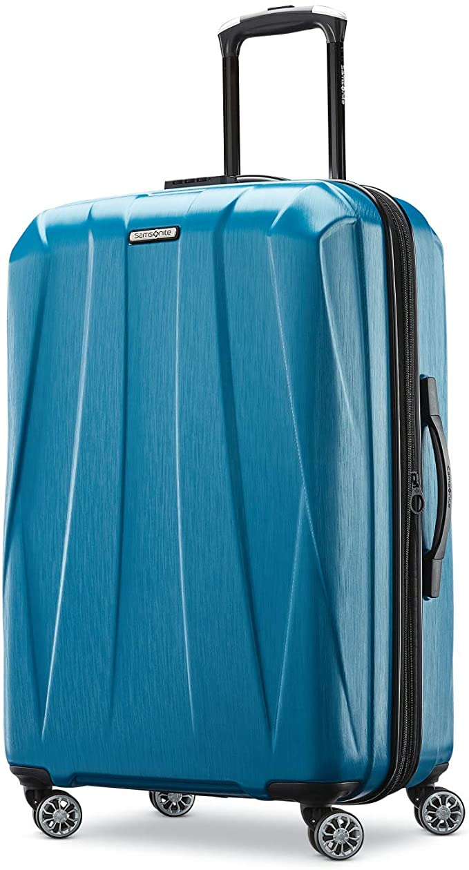 Samsonite Centric 2 Hardside Expandable Luggage with Spinner Wheels, Caribbean Blue, Checked-Medium 24-Inch