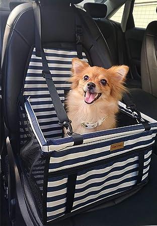 Fancydeli Hunde Autositz Upgrade Deluxe Tragbarer Haustier Hundesitz Autositz Mit Sicherheitsleine Und Hundedecke Perfekt Für Kleine Und Mittelgroße Haustiere Blau Weiß Haustier