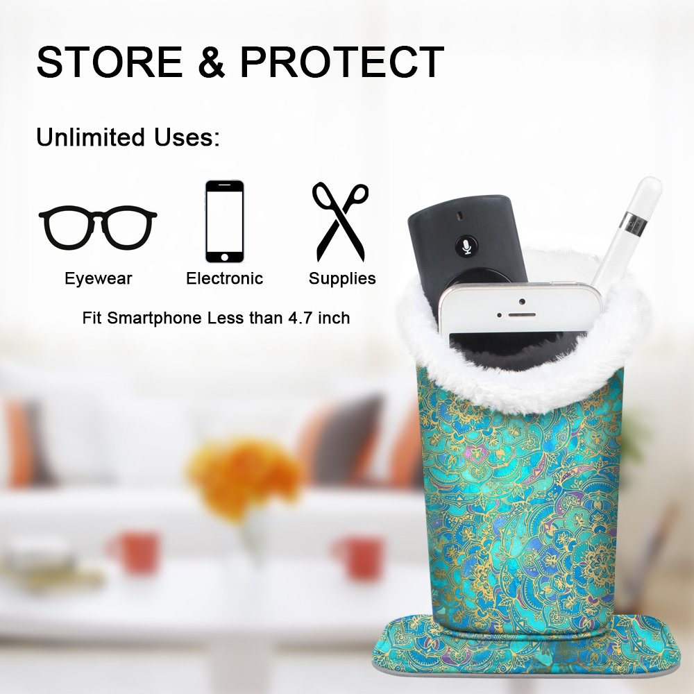 Plush Lined Eyeglasses Holder - Fintie Premium PU Leather Anti-scratch Dustproof Protective Eyeglass Stand Case with Magnetic Base (Shades of Blue) by Fintie (Image #7)