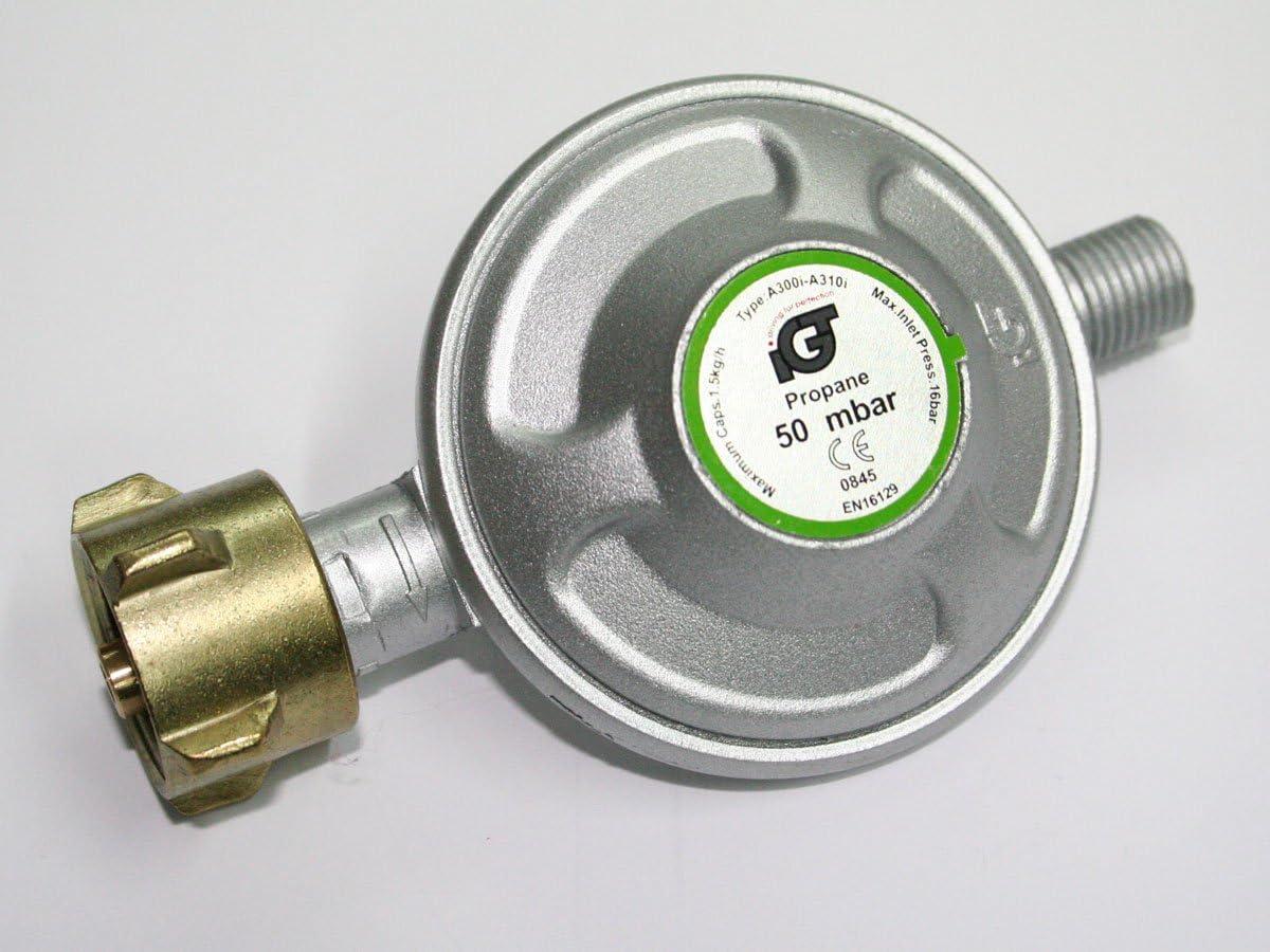 Heizstrahler etc Gasschlauch 50-200mbar verstellbar Gasdruckminderer f/ür Grills Druckregler f/ür Gasflasche Rabenburg Niederdruckregler Umr/üstset