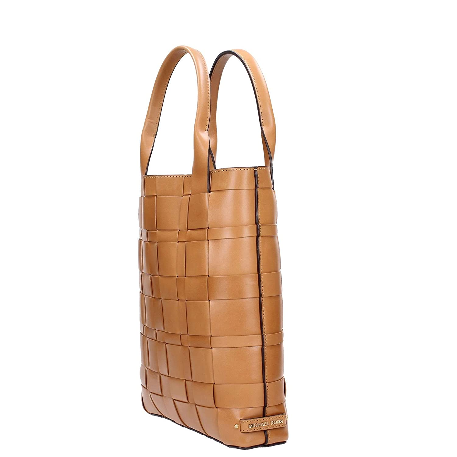 09ea6f56cb Michael Kors Vivian Large Woven North South Leather Tote in Peanut   Amazon.co.uk  Clothing