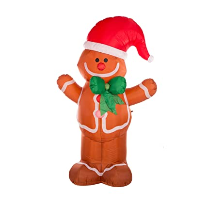glitzhome christmas outdoor lighted inflatable decor gingerbread man - Outdoor Christmas Decorations Nj