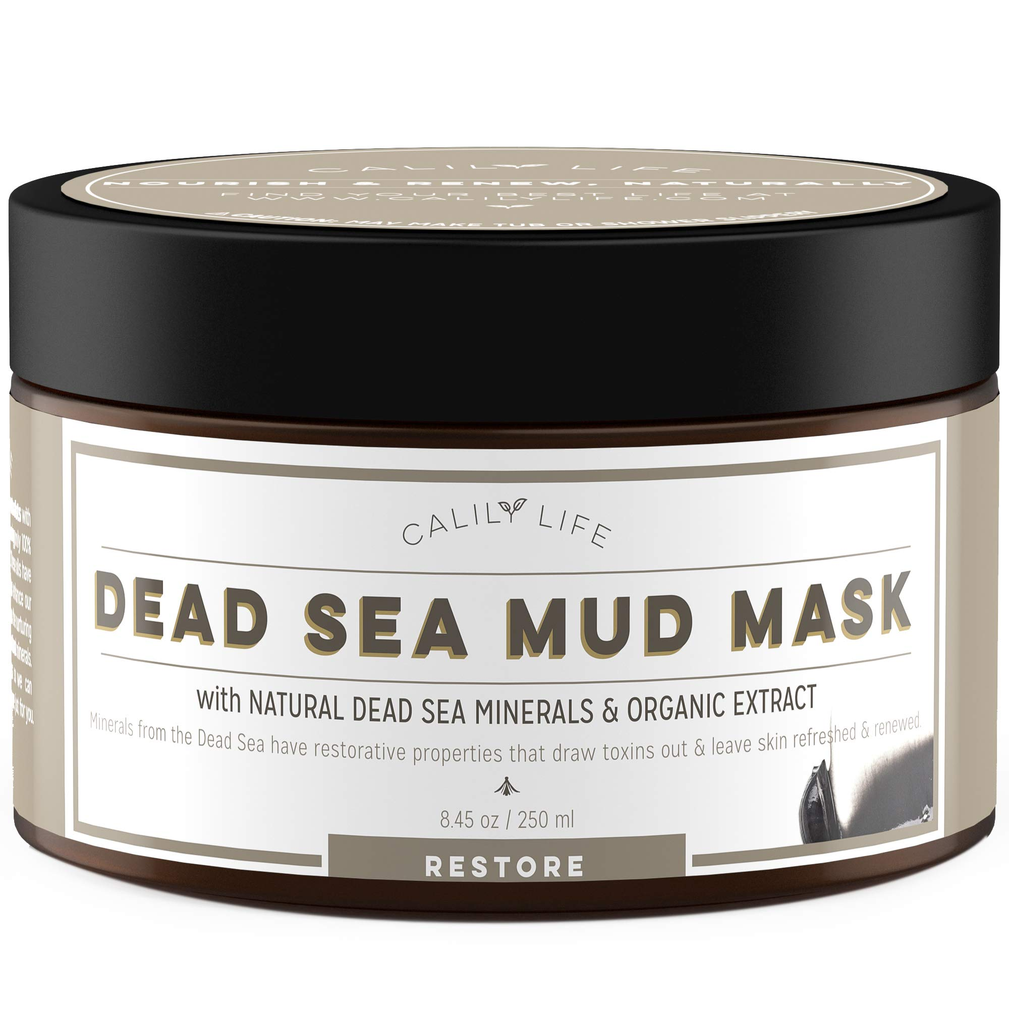 CalilyLife Organic Dead Sea Mud Mask, 8.5 Oz. - Organic Deep Skin Cleanser – Face and Body Treatment – Eliminates Acne, Wrinkles, Cellulite - Cleanses Pores, Revitalizes Skin with a Youthful Glow