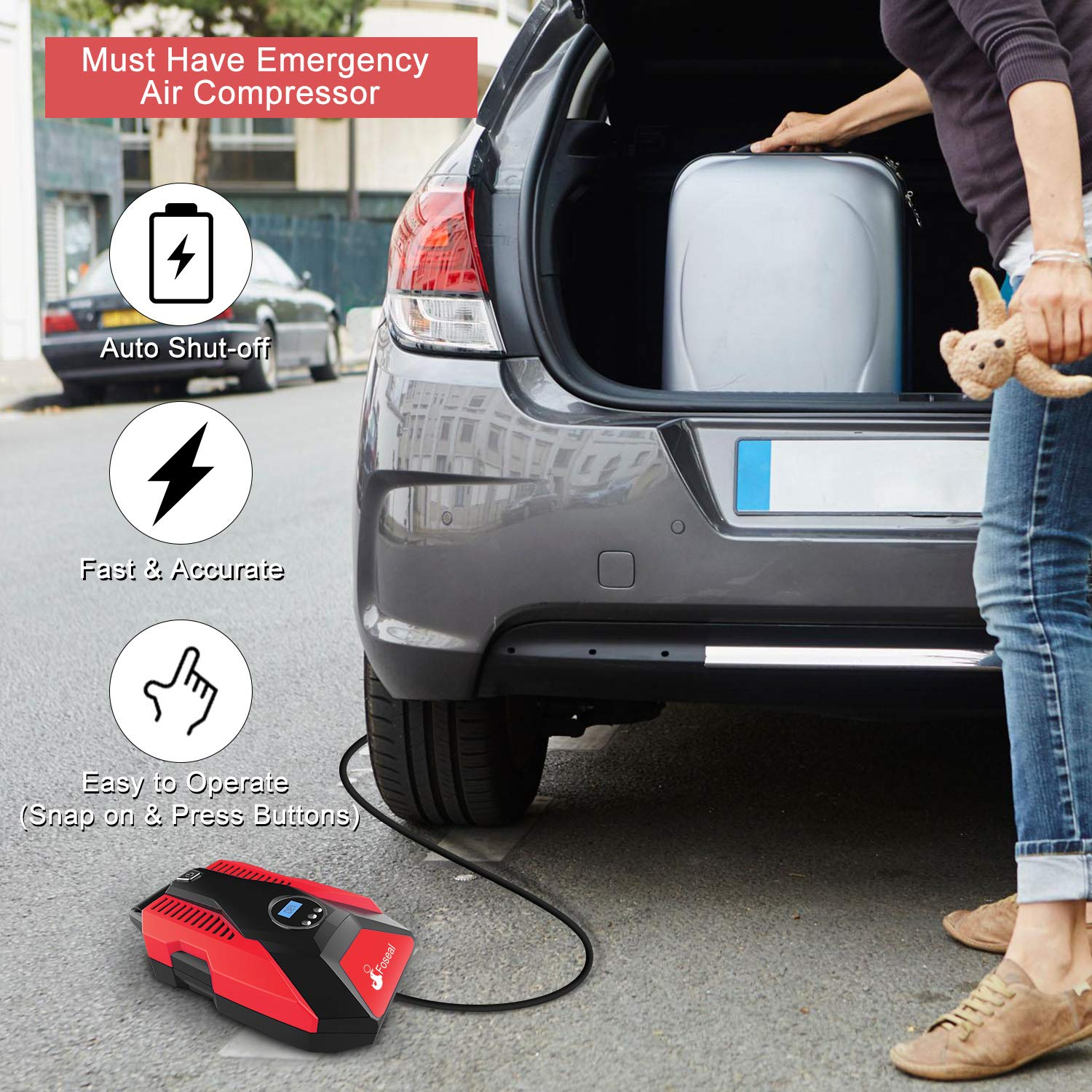 Amazon.com: Portable Air Compressor Tire Pump, Foseal Auto Shutoff Digital Tire Inflator 12V 150 PSI Easy to Use,Overheat Protection,Fast,Low Noisy for Car ...