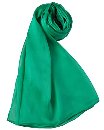123bde22e0121 Pure Silk Large Light Solid Color Scarf (Emerald Green) at Amazon ...
