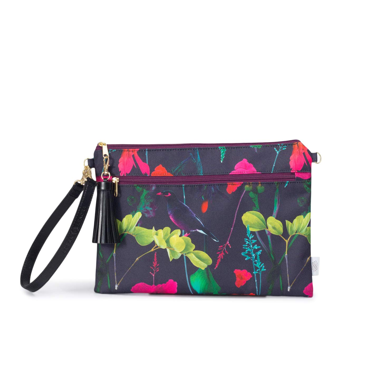 Waterproof Wristlet Clutch - Diaper Clutch with Front Dry Pocket, Cloth Diaper Wet Bag, Small Diaper Bag, Wet Wipes Case or Carrier - Made in USA (Botanica)