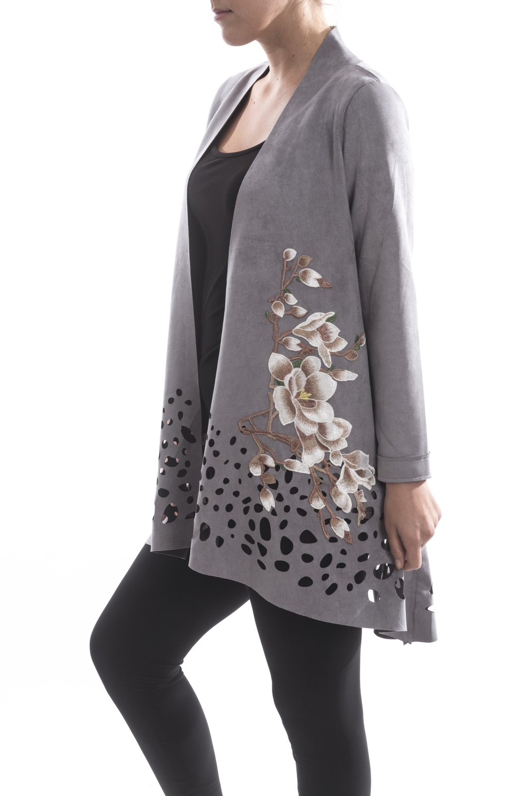 Aris. A Faux Suede Laser Cut Embroidered Grey Jacket Style RB17606 Size Large