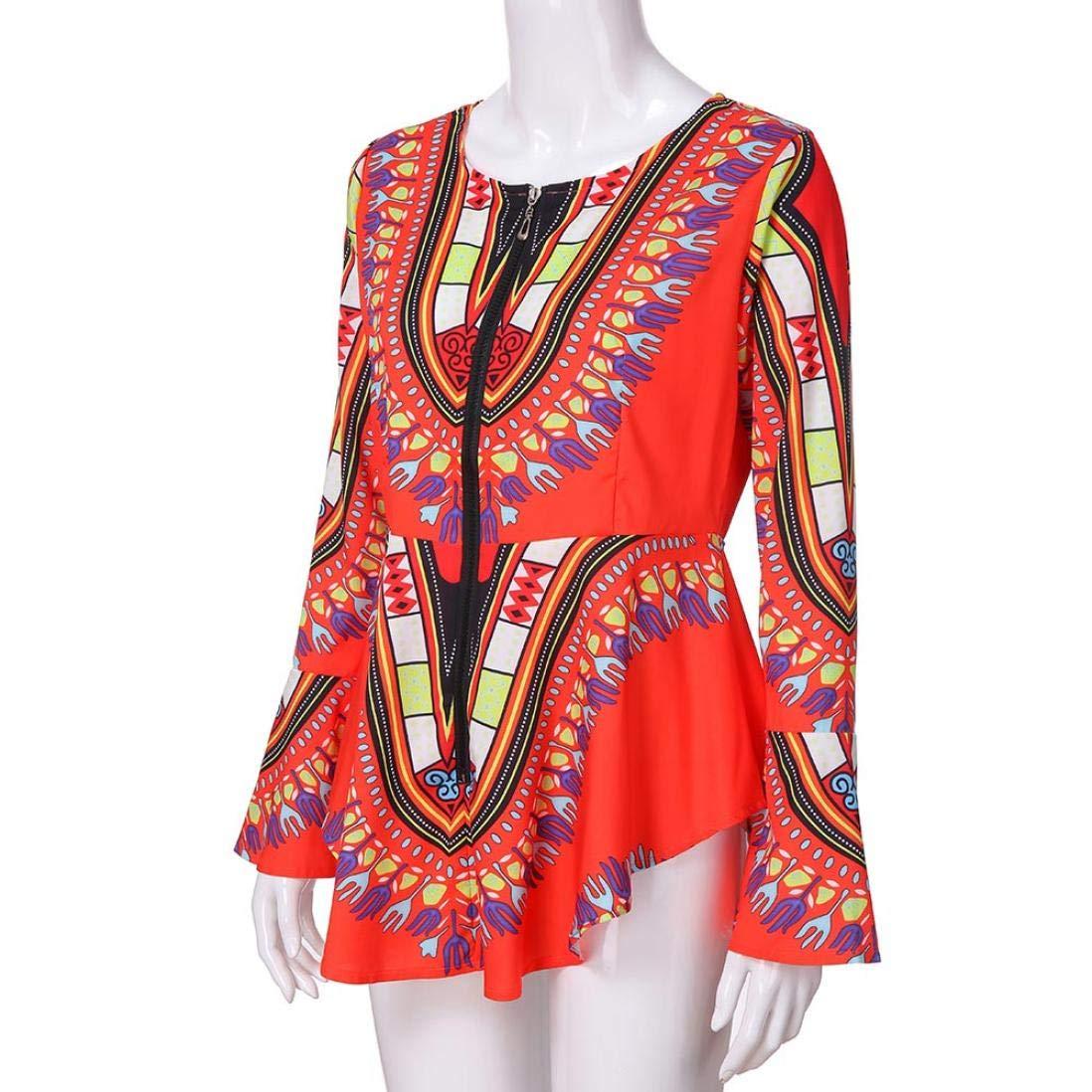 Amazon.com : Clearance Women Tops LuluZanm Printed Zipper Closure Blouse Asymmetric Hem Long Sleeve Tops (Orange, S) : Grocery & Gourmet Food