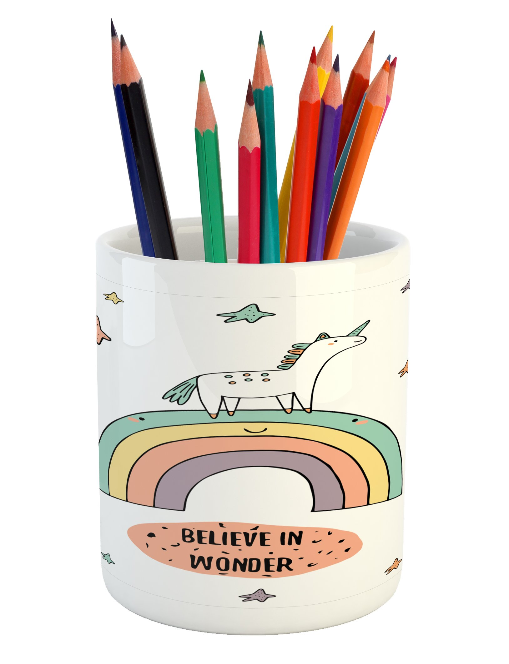 Ambesonne Unicorn Pencil Pen Holder, Hand Drawn Rainbow with Doodle Stars and Believe in Wonder Quote Positive Vibes, Printed Ceramic Pencil Pen Holder for Desk Office Accessory, Multicolor