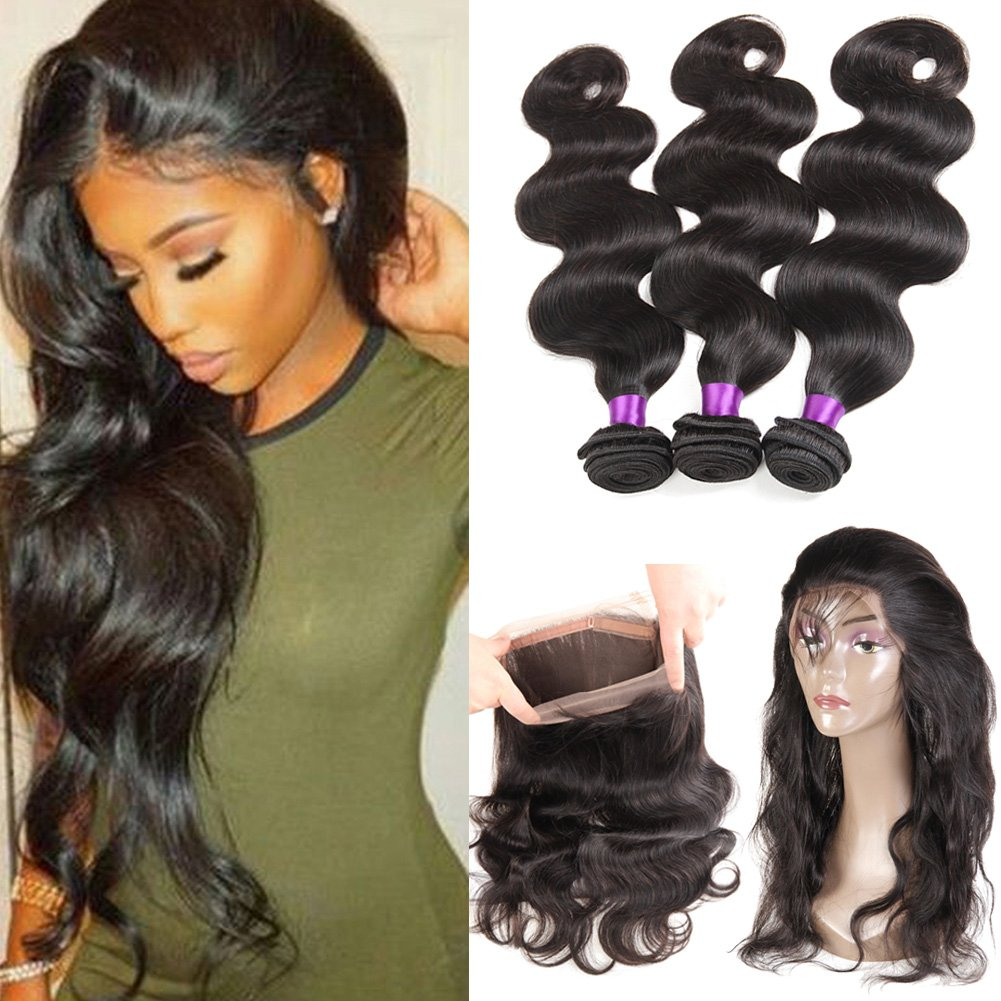 Ossilee Hair 8A Grade 360 Lace Frontal Closure with Bundles Malaysian Body Wave Hair Bundles with 360 Lace Frontal Unprocessed Human Hair Bundles with Frontal (16 18 20+14 360frontal, Natural Color)