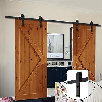 Buena Vida puerta corrediza de granero Hardware 13 ft Kit de sistema de guía doble madera puerta corredera interior DIY guía Set de montaje en pared estilo antiguo de color negro hmi346: