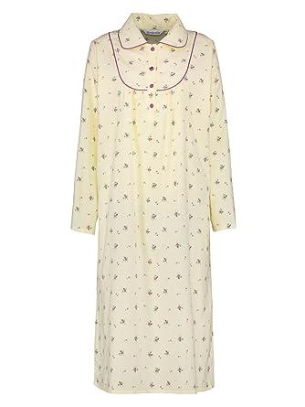 Slenderella Ladies Floral Flannel Nightdress Peter Pan Collar Brushed Cotton  Nighty UK 16 18 (Cream)  Amazon.co.uk  Clothing 9eb2bed10
