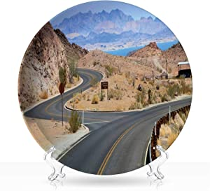 "Empty twisting roads and intersection on the road to Hoover Dam,Indie Ceramic Decorative Plate Interior Art 6""Inch"