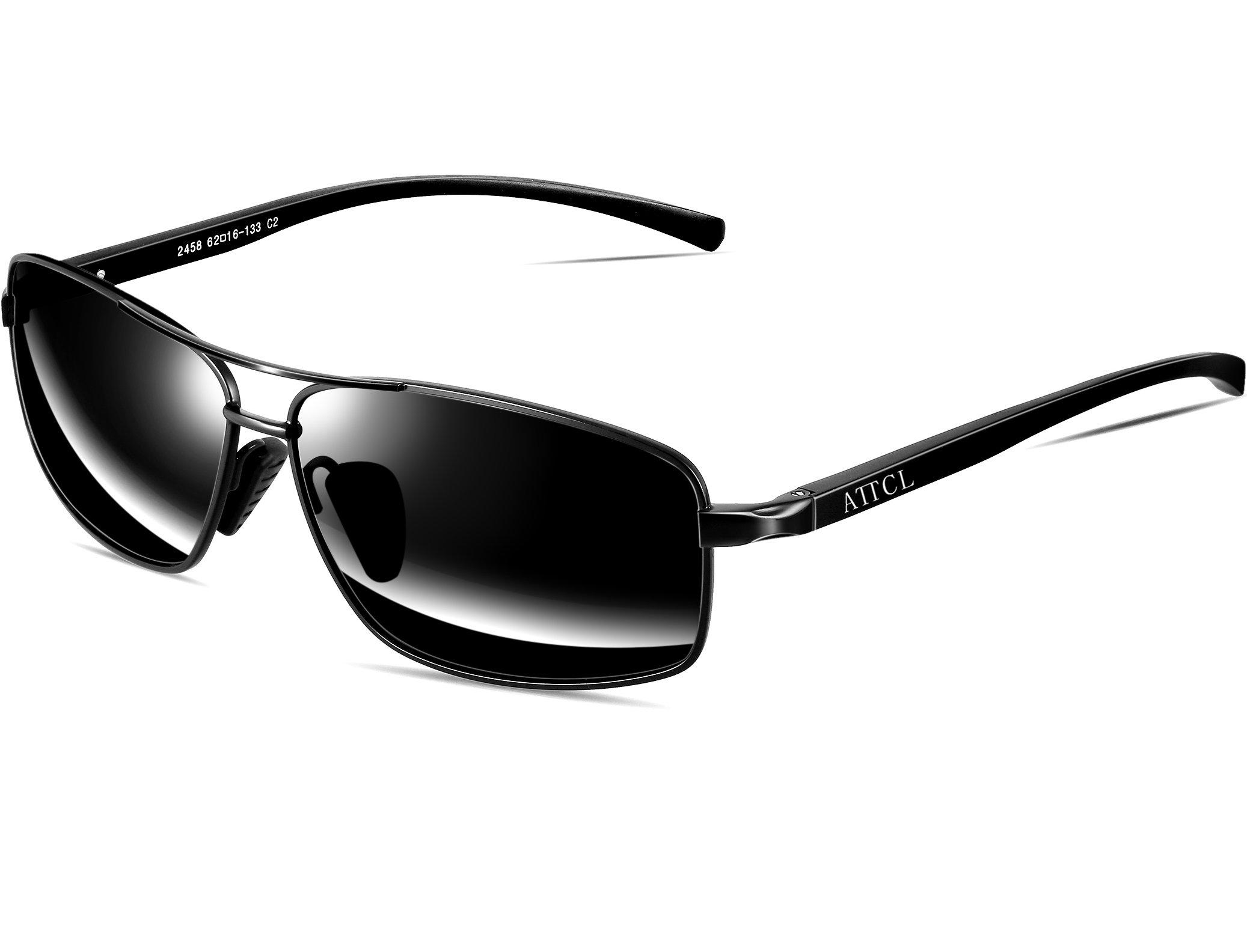 ATTCL Men's Sunglasses Rectangular Driving Polarized Lens Al-Mg metal Frame Ultra-light 2458 Black by ATTCL