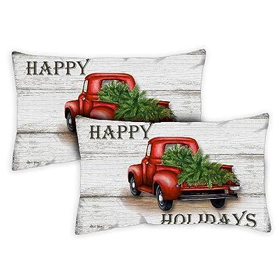 Toland Home Garden 771292 Red Truck Holidays 12 x 19 Inch Indoor/Outdoor, Pillow Case (2-Pack) : Garden & Outdoor
