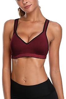23afdb4ae Anfilia Womens Sports Bra Cross Back Gym Bra Active Top Medium Impact Work  Out Bra Top