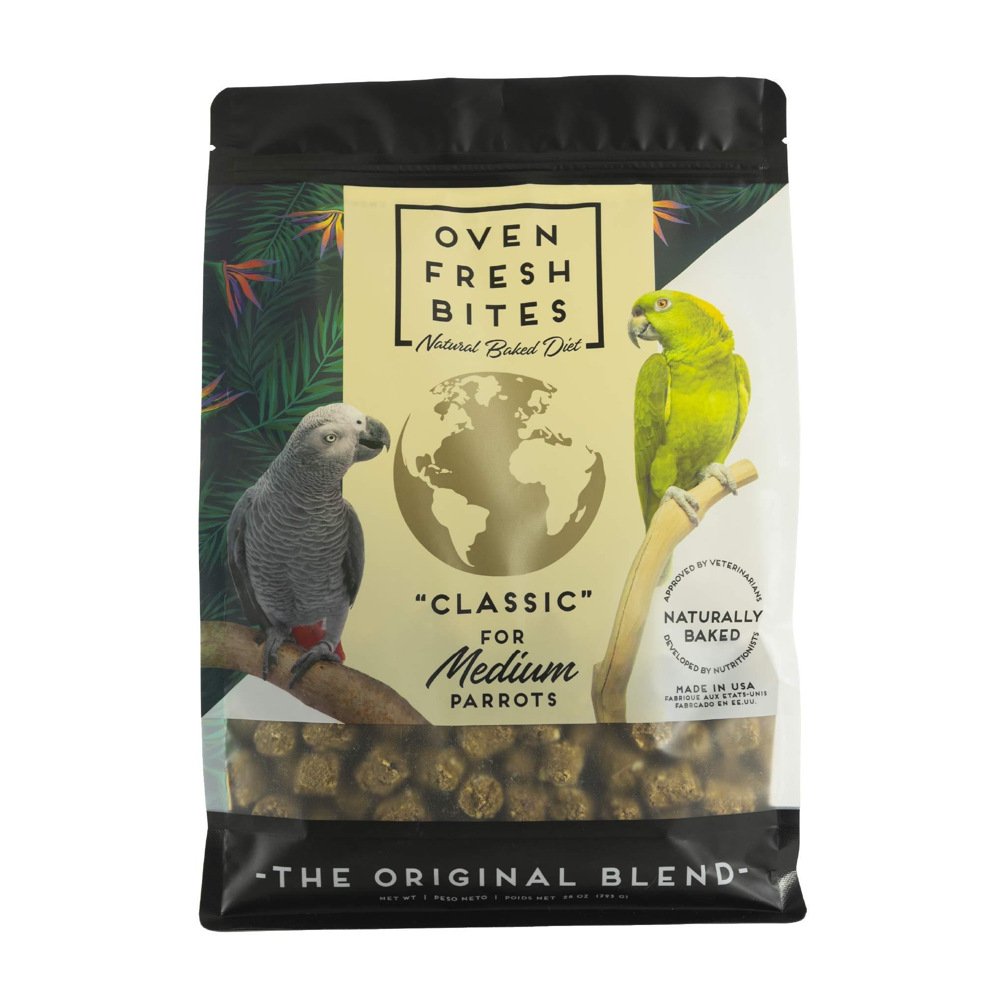 Oven Fresh Bites Natural Baked Avian Diet, Nutritional, Whole Grain, Medium Parrot, 28 Oz. Bag