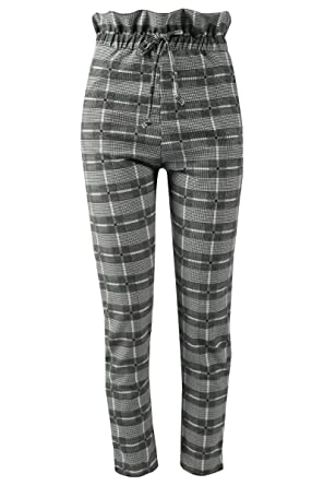 8d3f4e9c3551 Women Ladies PLEATED WAIST CHECK CIGARETTE TROUSERS CHECK PRINTED BELTED  TARTAN: Amazon.co.uk: Clothing
