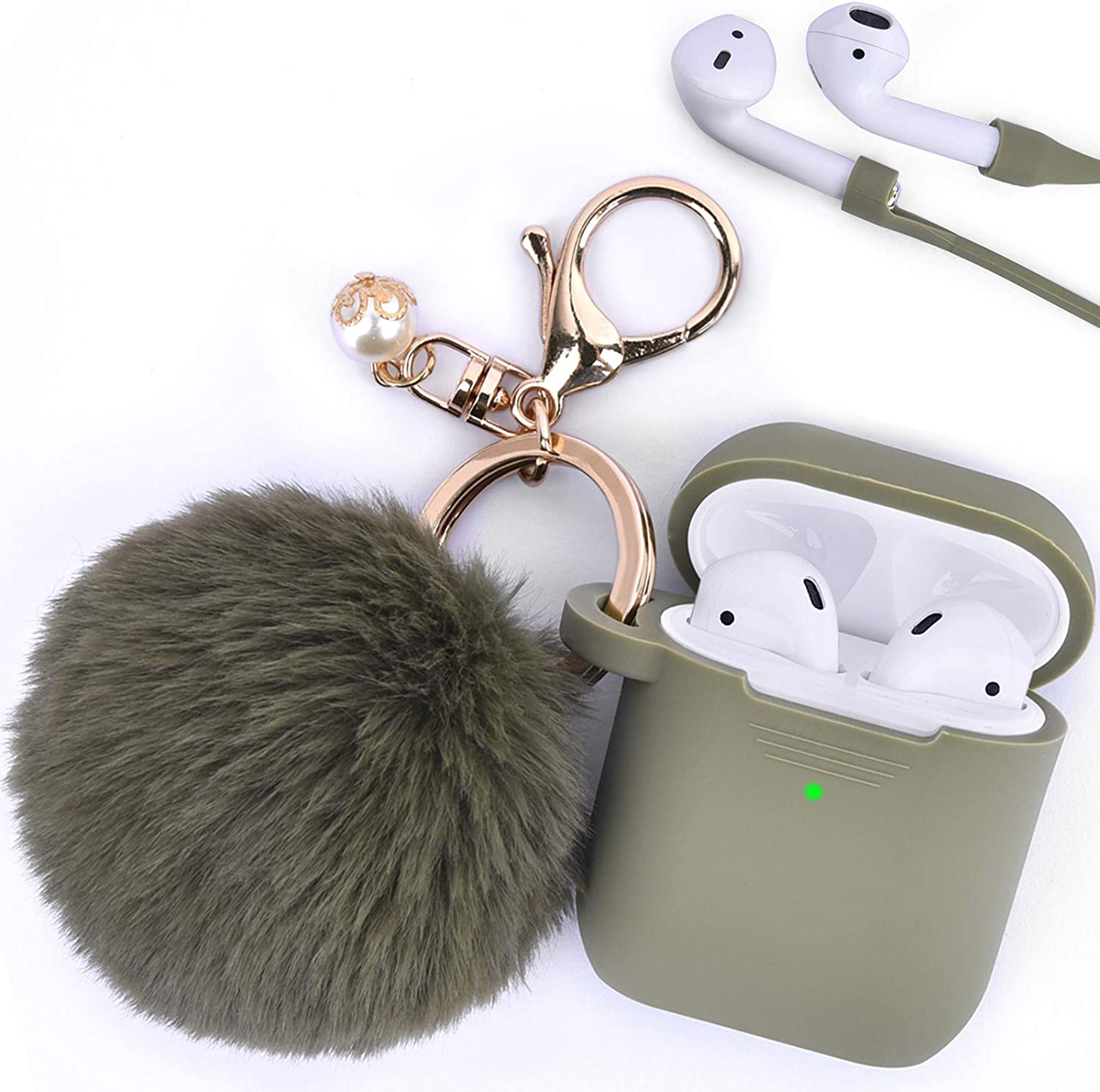 Filoto Case for Airpods, Airpod Case Cover for Apple Airpods 2&1 Charging Case, Cute Air Pods Silicone Protective Accessories Cases/Keychain/Pompom/Strap, Best Gift for Girls and Women, Olive Green