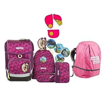 5867b3275f5fa Ergobag Cubo NachtschwärmBär Schulrucksack-Set 5tlg + Regenhaube Pink + Sicherheitsset  Pink