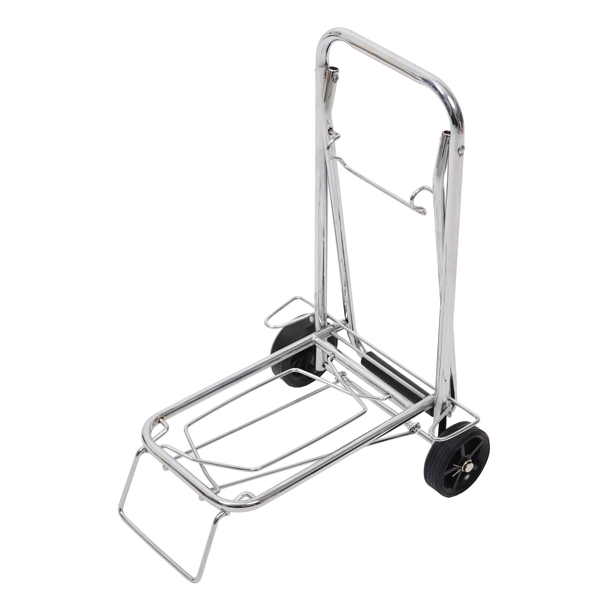 Lucky Tree Aluminum Folding Hand Truck Portable Fold Up Dolly with Wheels for Indoor Outdoor Travel Shopping Office,55lbs (Silver)