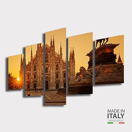 Quadro Moderno soggiorno MILANO città Duomo Tramonto alba citta ...