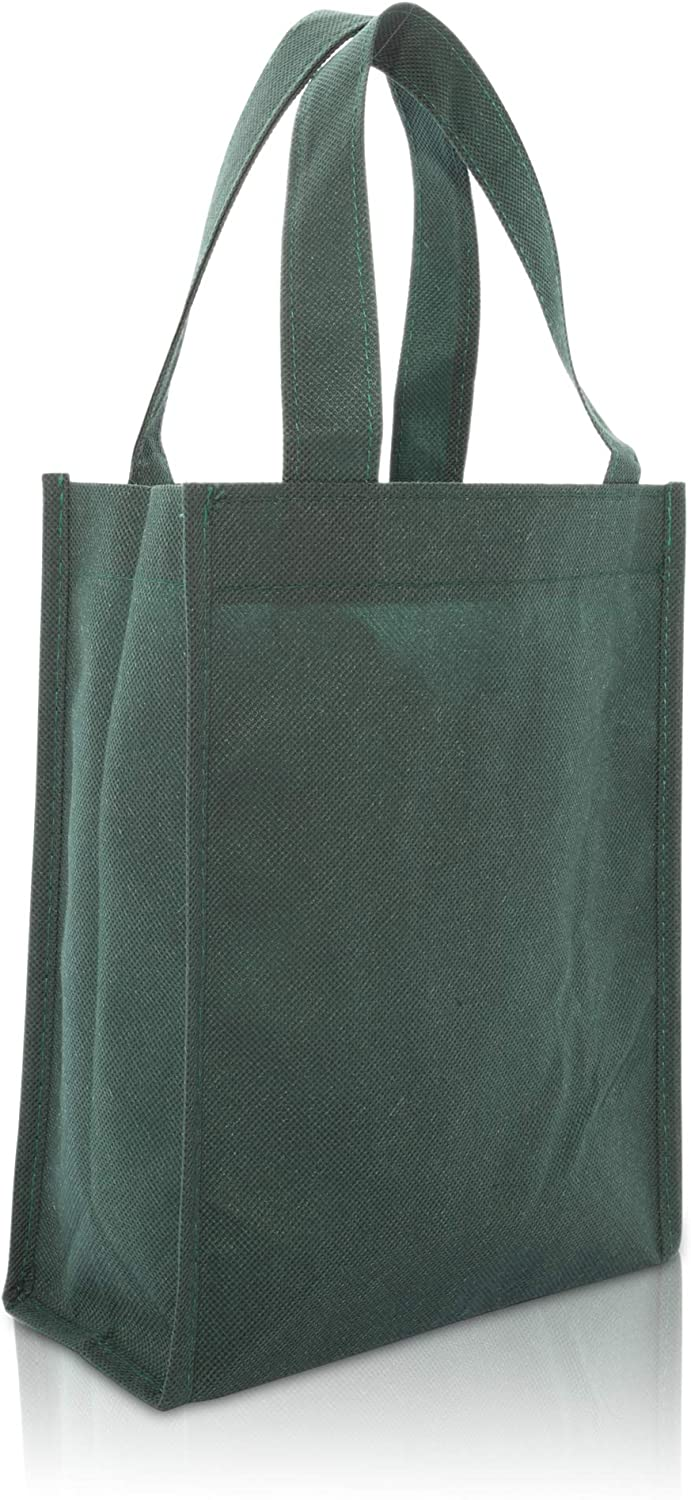 "DALIX 10"" Mini Shopping Totes Small Resuseable Bags for Women and Children in Dark Green-10 PACK"