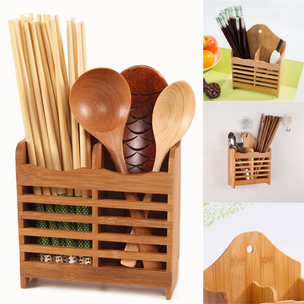 Gooday Hollow Out Bamboo Cutlery Storage Rack Drying Rack Spoon Chopsticks Storage Holder Shelf Wall Hanging Shelves Kitchen Storage