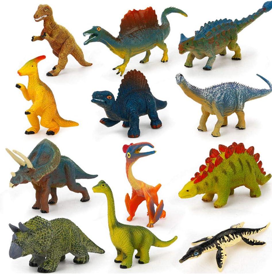 RENNICOCO 12 PCS simul/é Solide Mini Animal mod/èle Enfants Vie Marine Dinosaure Monde Apprentissage Jouet Cadeau