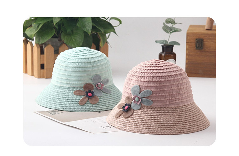 Brand Wide Brim Floppy Straw Sun Hat Beach Children Hat Foldable Summer UV Protect Travel Cap Casual Cap Kids Panama Hats (a) by zhenyu (Image #3)