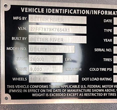 1 Car Hauler Semi Trailer Special ID Tag Plate Serial Model VIN# Custom  Engraved