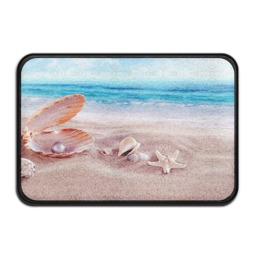 Beach Collection,Blue Sky Tropical Seashell Conch Starfish Beach Ocean Bath Mat - 1 Piece Memory Foam Shower Spa Rug Bathroom Kitchen Floor Carpet Home Decor With Non Slip Backing 24in x 16in