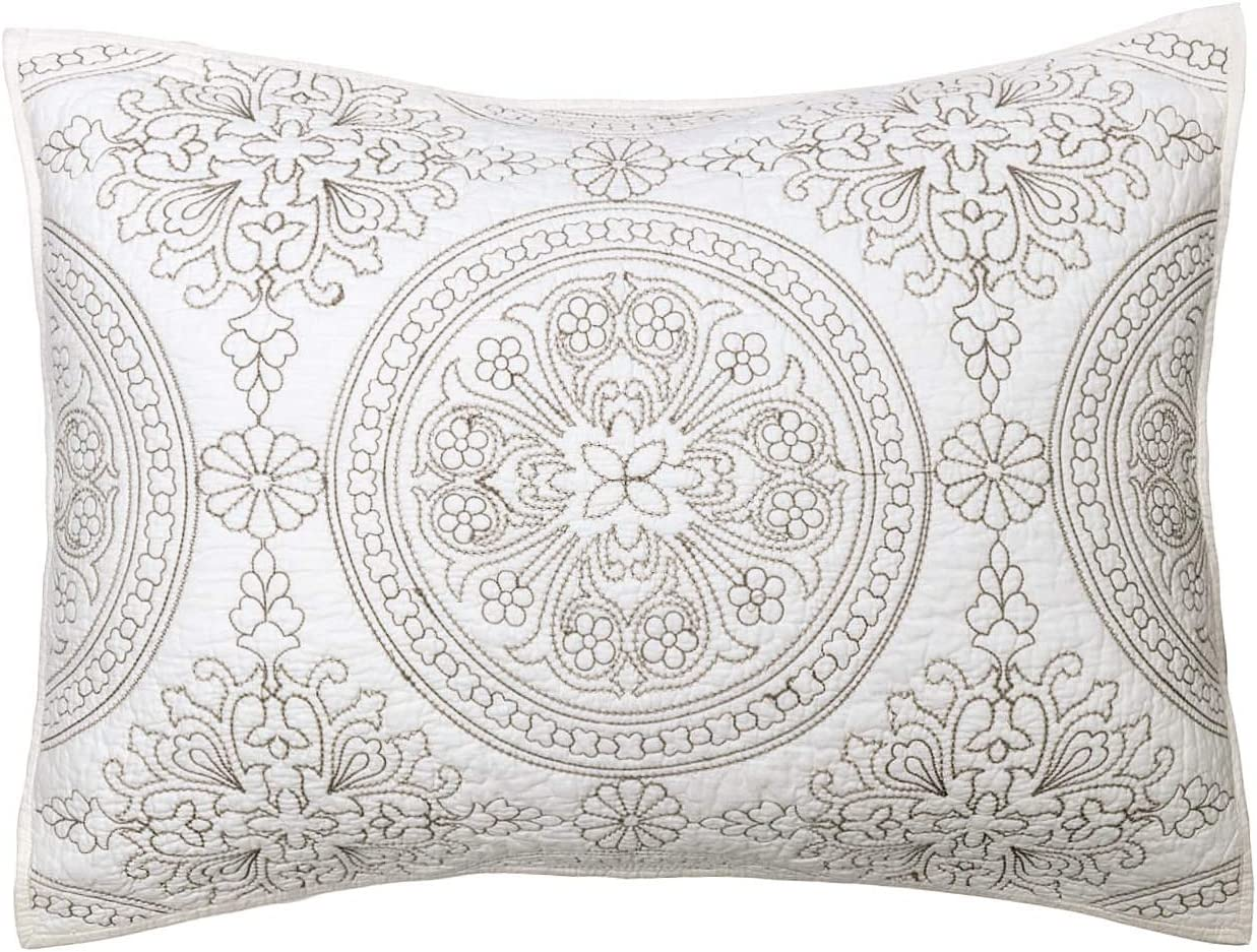 ELEGANT LIFE HOME 100% Cotton Medallion Embroidered King Pillow Sham 20'' x 36'', Ivory
