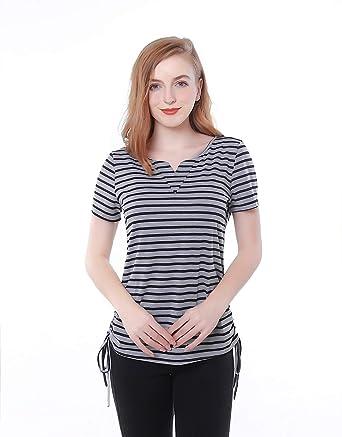 e4eb9912314c1 MANYI Womens Notch V Neck Short Sleeve Tees Tops Loose Fit Drawstring Side  Striped Shirts (