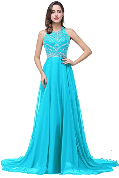Babyonline - Vestido de fiesta largo de gasa con cristal azul azul 44