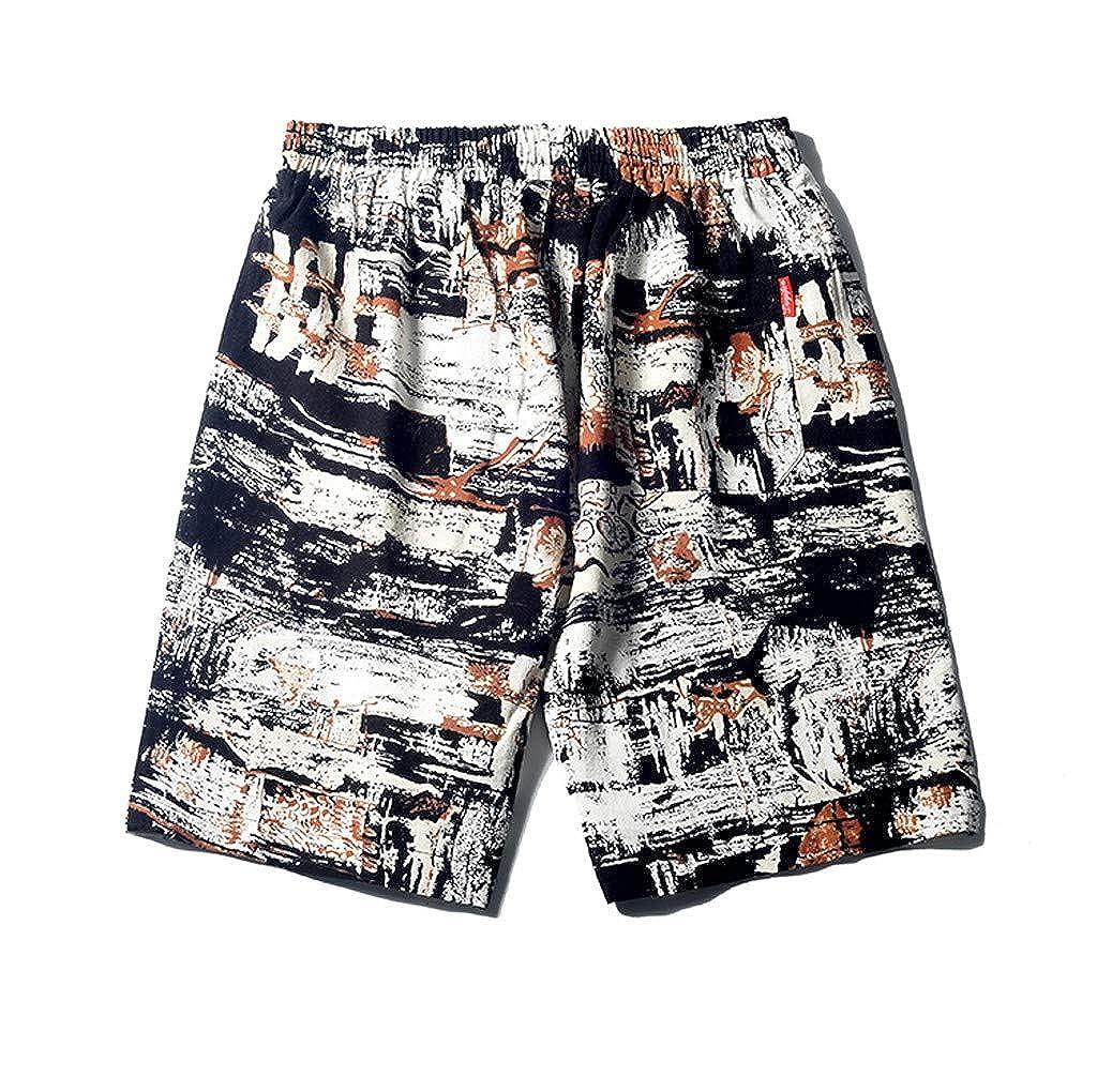 Transer Mens Cotton Linen Beach Short Loose Slim Elastic Waist Drawstring Wrinkle-Resistant Flat-Front Chino Pant